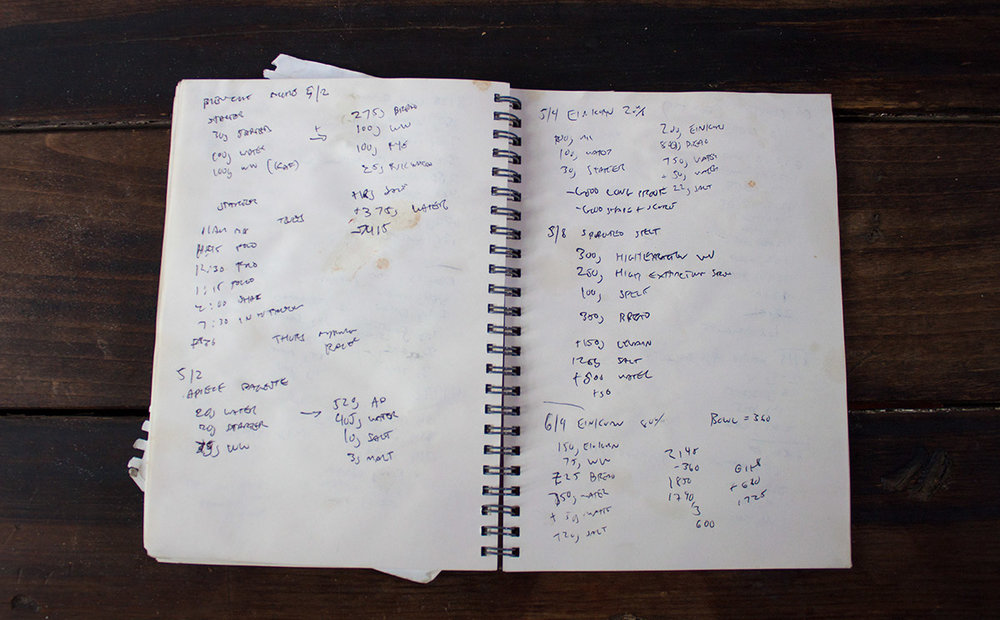 My trusty and well stained notebook, where I keep tabs on all my dough experiments