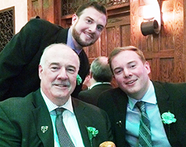 RC faculty member Dan Sullivan '74 with sons Daniel '06 and Ryan '09