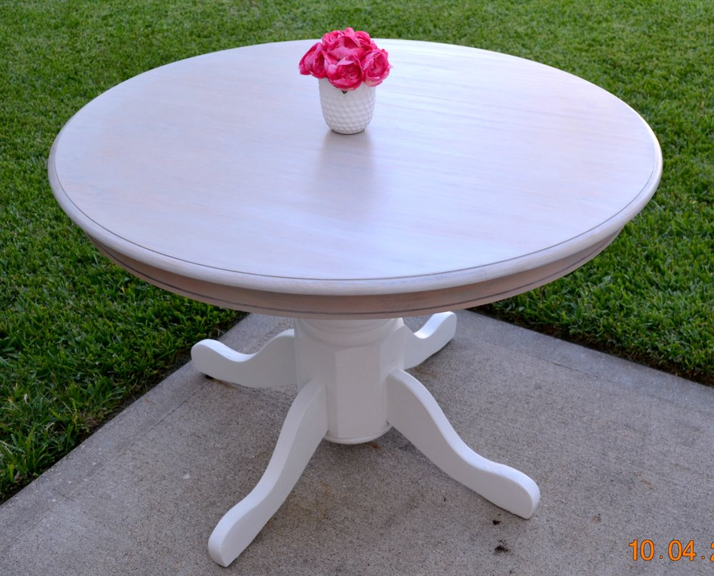 Dining Table Makeover using chalk paint and wood stain by Julie Warnock Interiors.