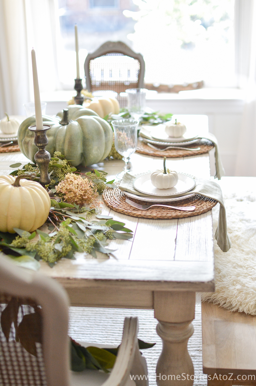 Neutral Fall Tablescape via Home Stories A to Z