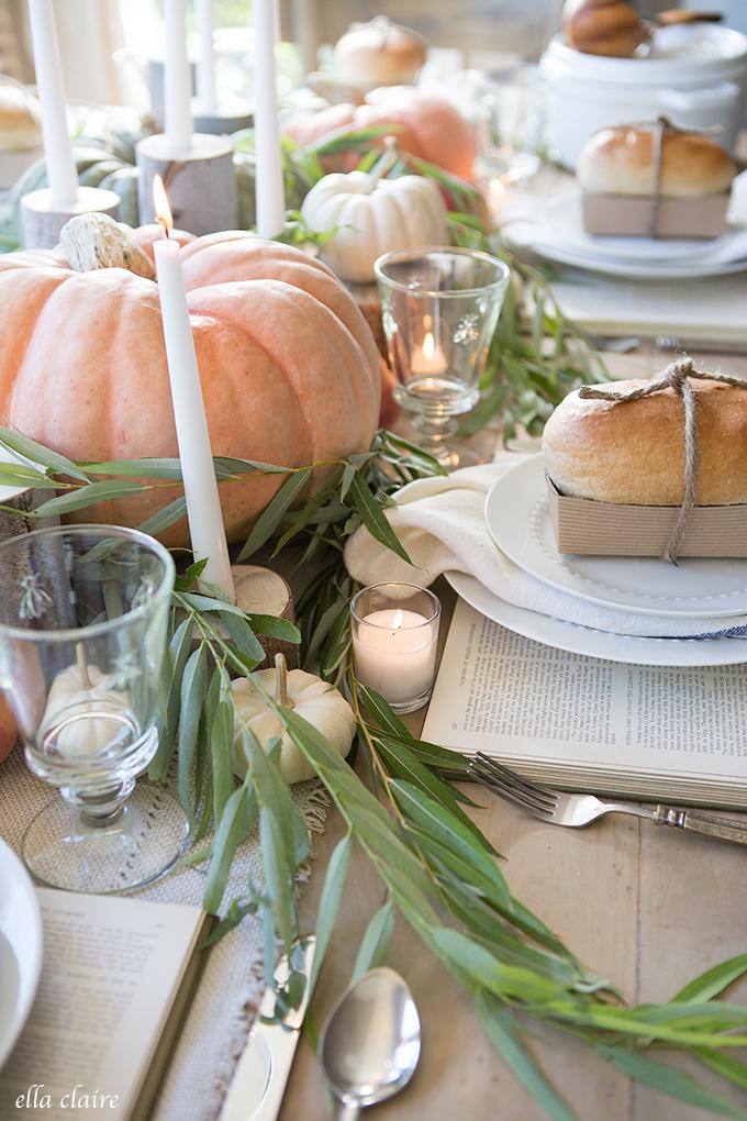 Neutral Fall Tablescape via Ella Claire.