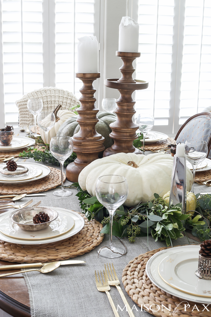 Green and white Thanksgiving Table via Maison de Pax