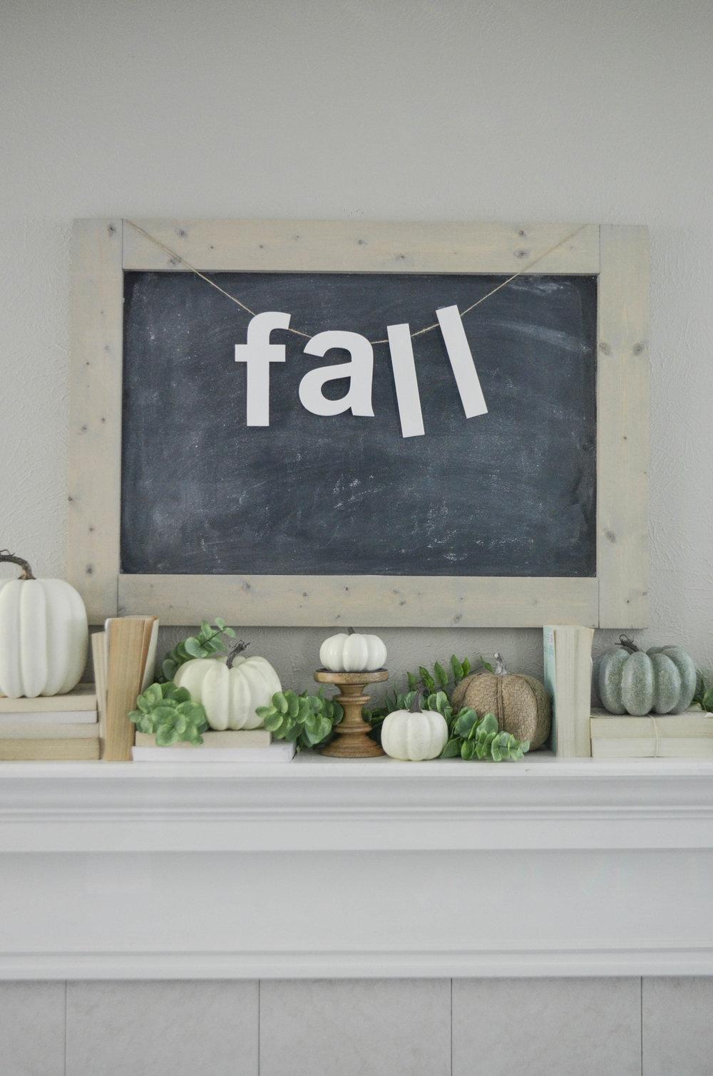 Neutral Farmhouse Fall Mantel by Julie Warnock Interiors