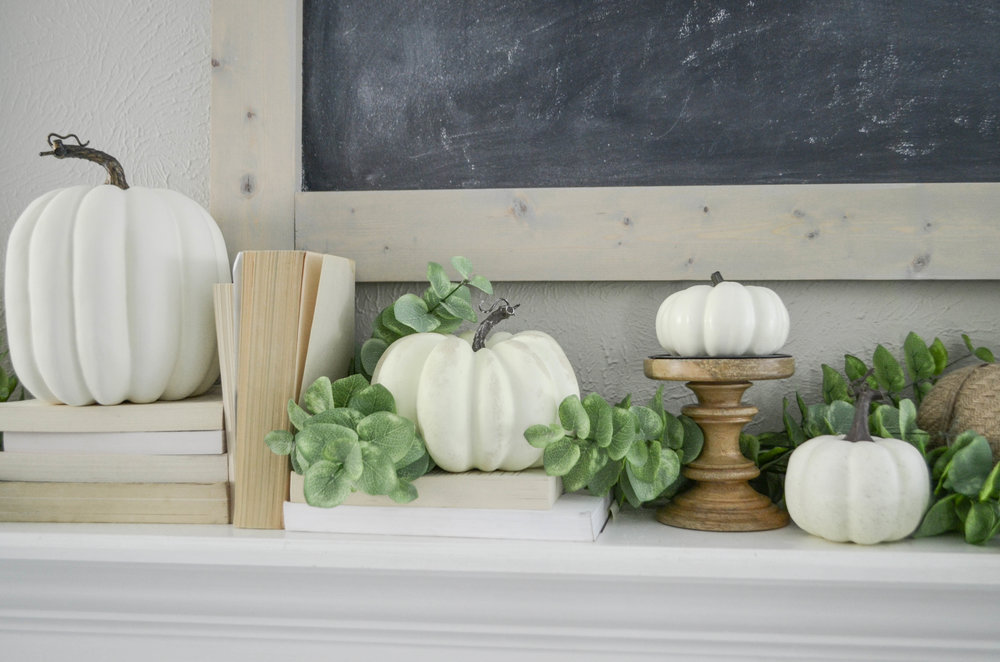 Neutral Fall Farmhouse Mantel by Julie Warnock Interiors