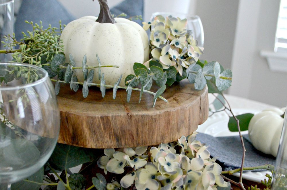 A simple neutral fall tablescape by Julie Warnock Interiors.
