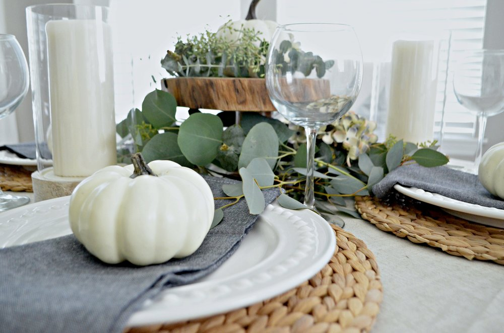 Neutral Fall Tablescape by Julie Warnock Interiors
