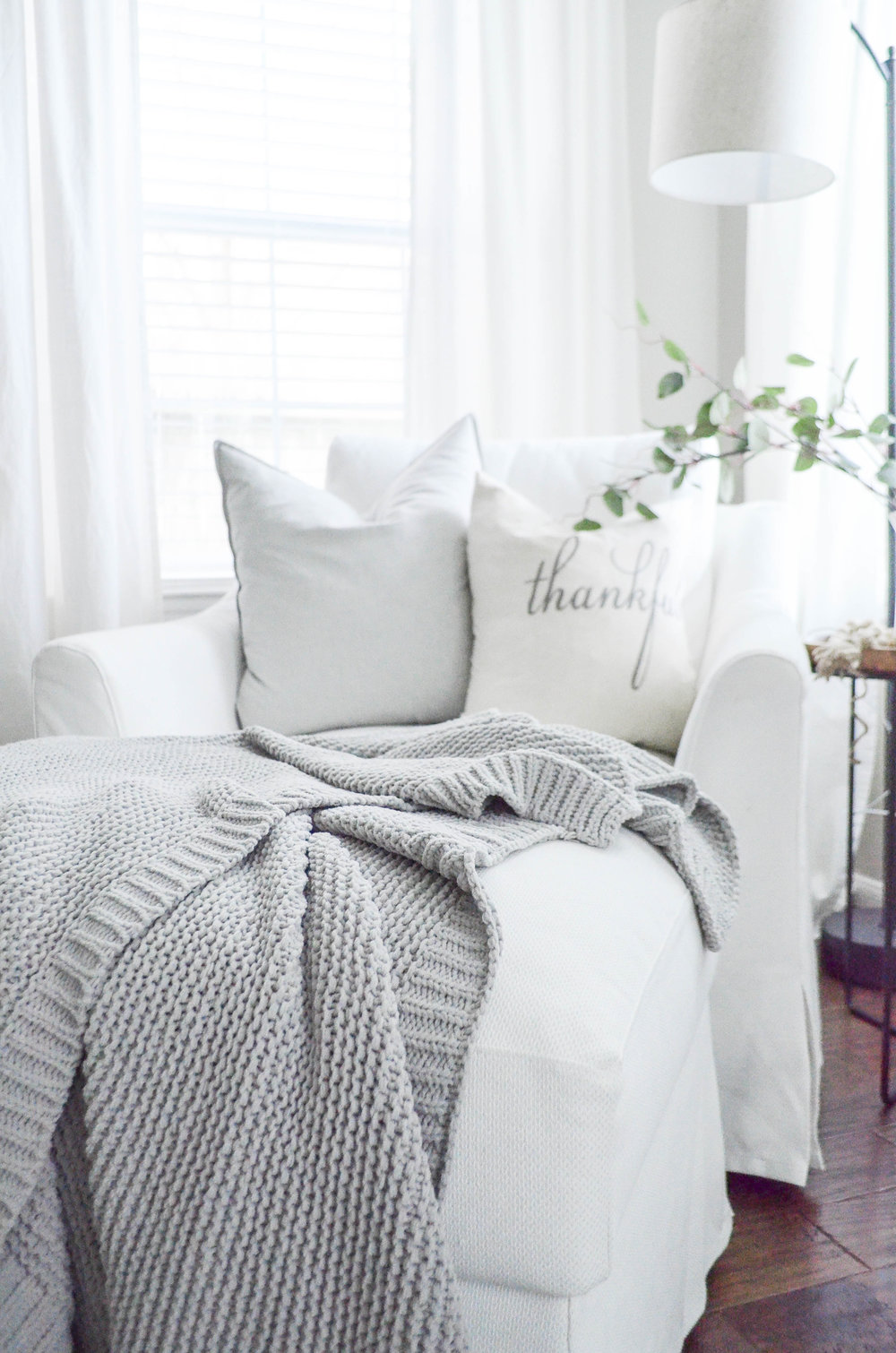 Farmhouse Fall Style Pillows styled by Julie Warnock Interiors.