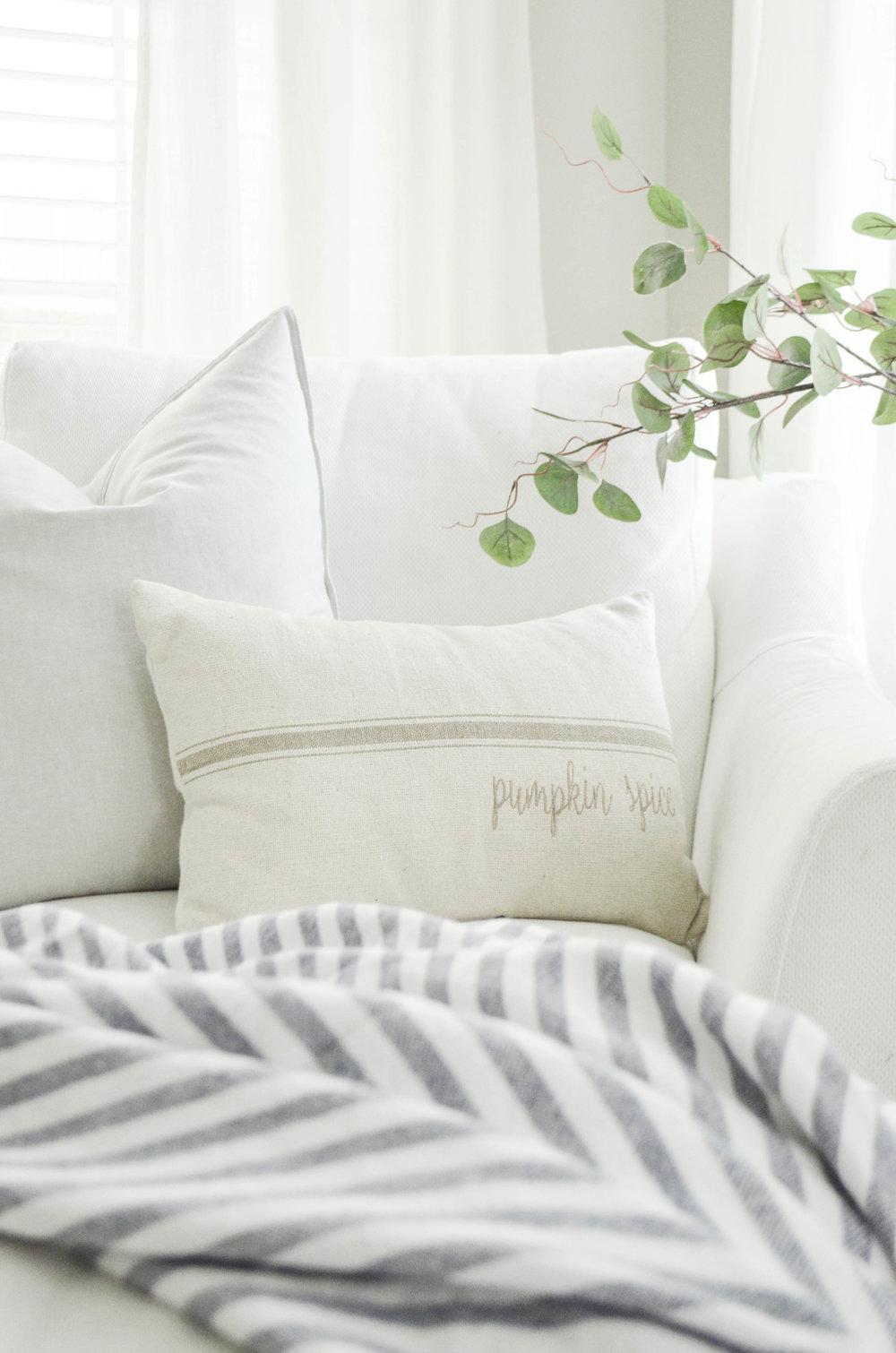 Neutral Farmhouse Fall Pillow by Farmhouse on Boone and Styled by Julie Warnock Interiors.