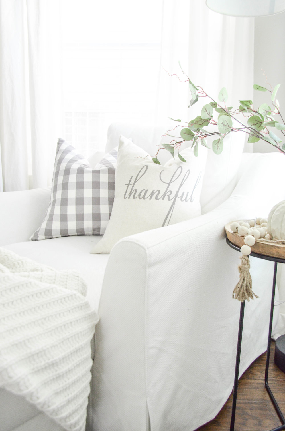 Neutral Fall Farmhouse Pillows styled by Julie Warnock Interiors.