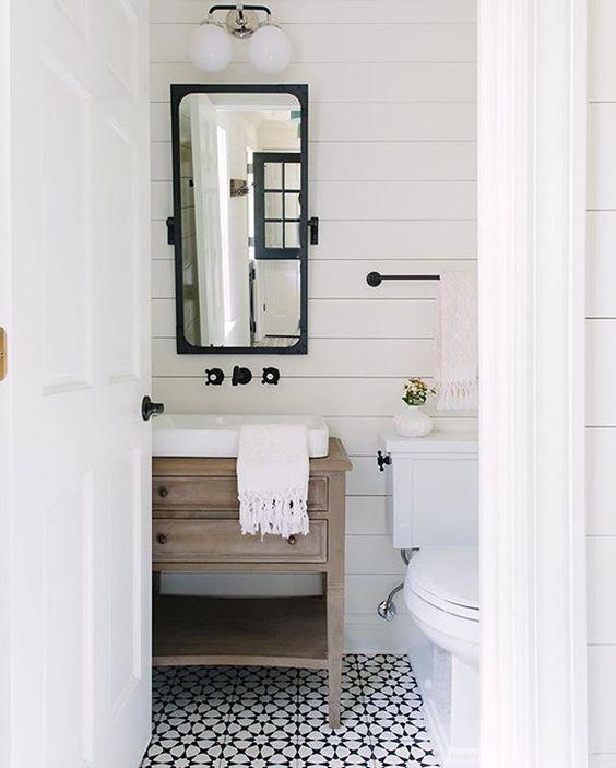 Modern Farmhouse Powder Bath via Kate Marker Interiors