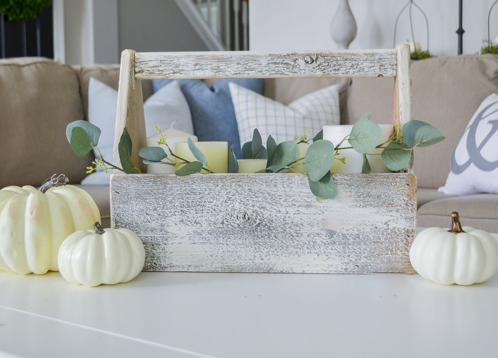Farmhouse Toolbox Fall Candle Centerpiece