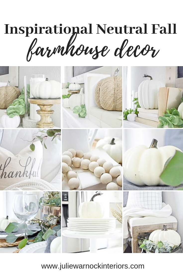Tons of neutral farmhouse style fall decoration ideas from julie warnock interiors