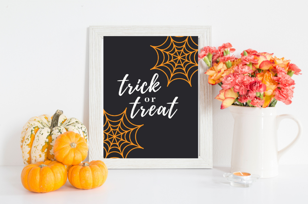 Trick or Treat Spider Web Free Halloween Printable