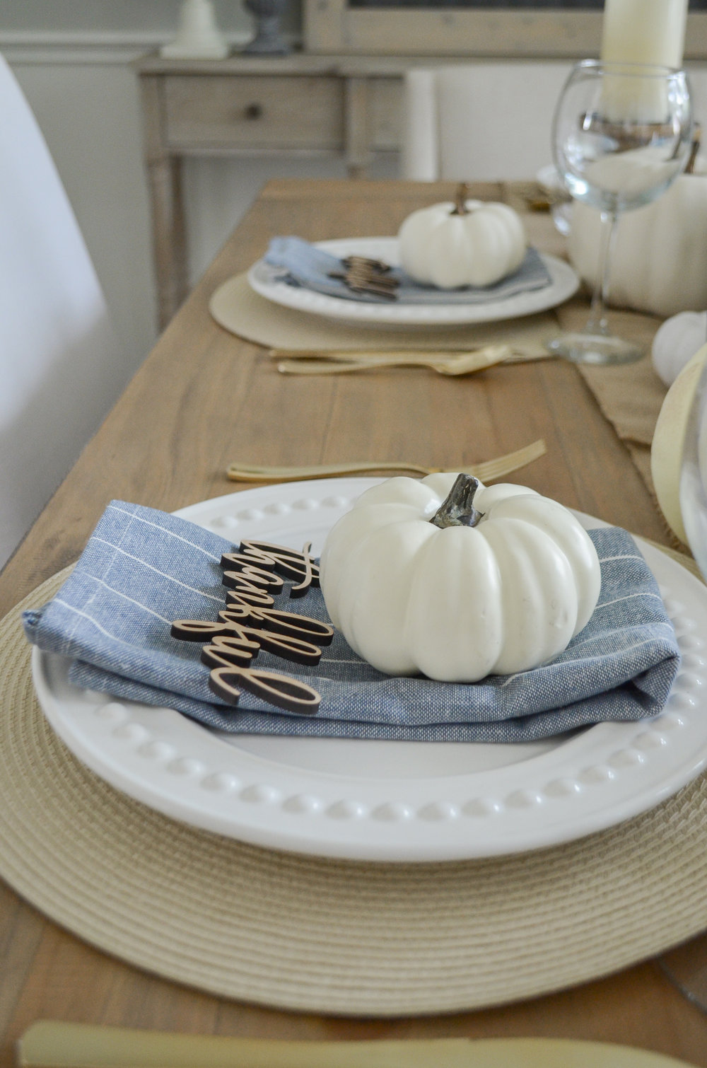 Easy farmhouse style Thanksgiving Place Setting with Wood Cut Outs by Julie Warnock Interiors.