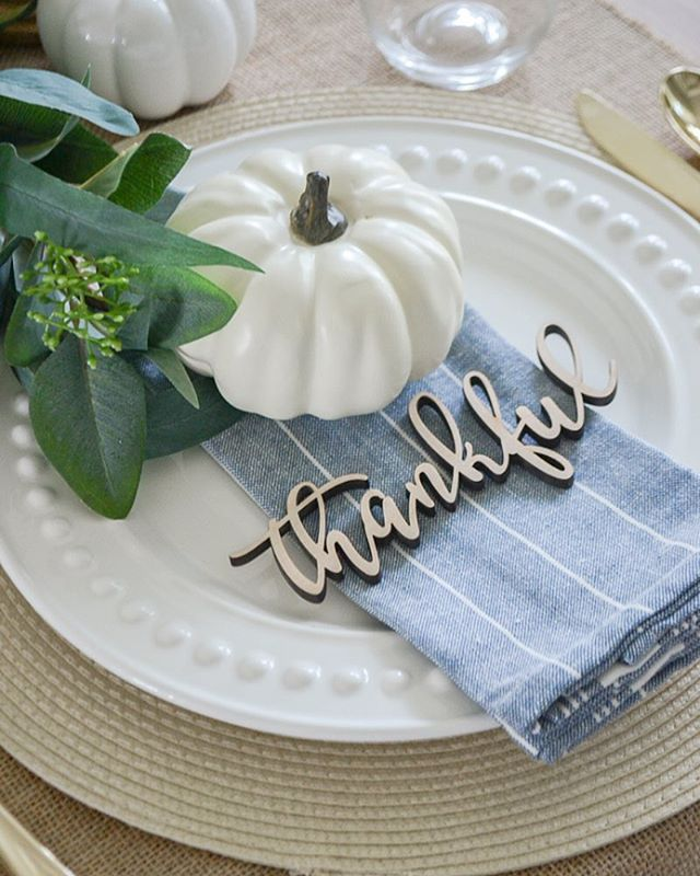 """My fall dining room goes live on the blog next week, but for now here's a sneak peek. I've linked the """"thankful"""" wooden cut outs since so many of you asked about them when I shared on my stories last week! Only $2 each!!! http://liketk.it/2xBGX #liketkit @liketoknow.it Shop your screenshot of this pic with the LIKEtoKNOW.it app"""