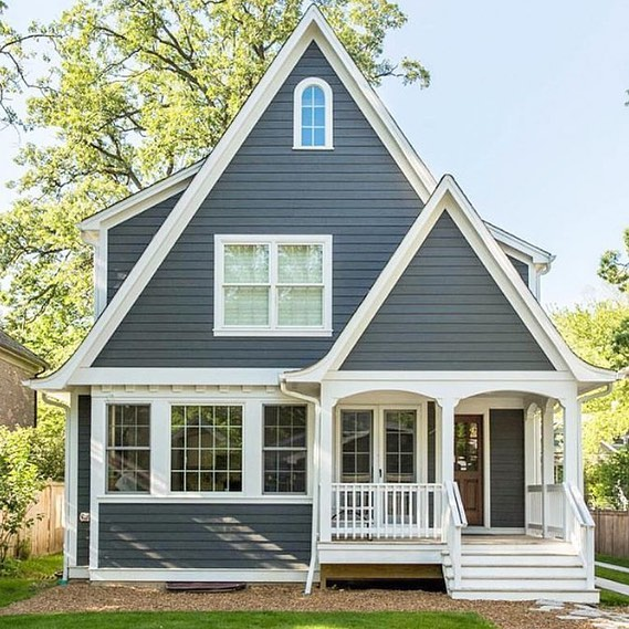 Basically 1000% in love with this beauty from @builders.of.insta. Home exterior dreams, right here, guys. I don't need a sprawling mansion to be happy. This cute little cottage in this dreamy blue-gray paint will do just fine. Who's with me? 😊
