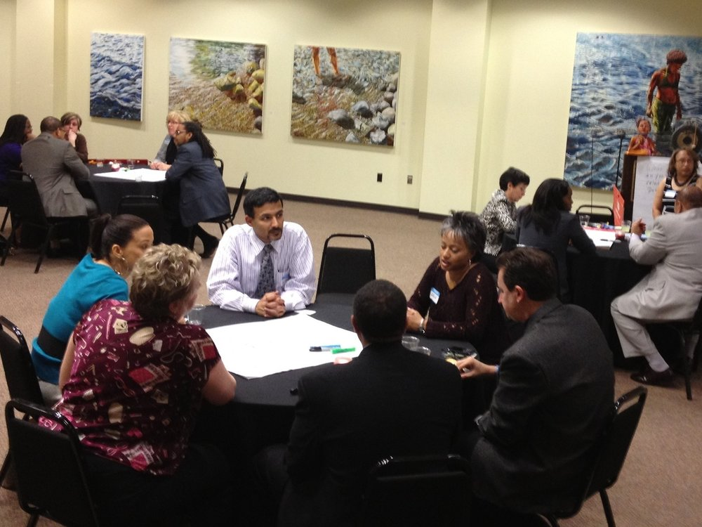 Facilitating a discussion about workplace diversity for Leadership Detroit in Detroit, Michigan.