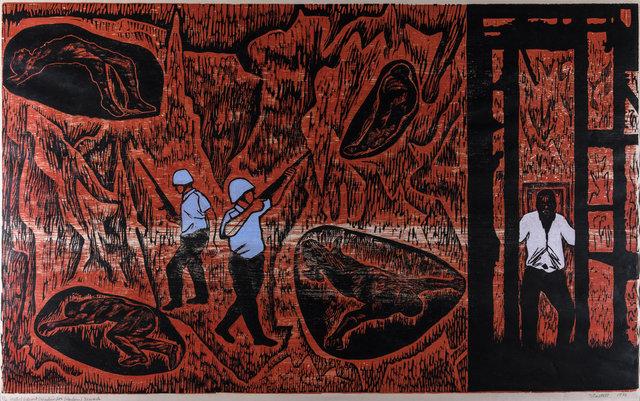 "Elizabeth Catlett, ""Watts: Detroit: Washington: Harlem: Newark"" (1970)"