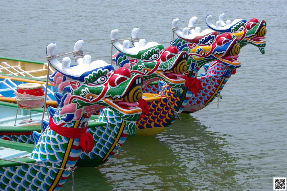 Traditional Chinese dragon boats during the annual dragon boat festival