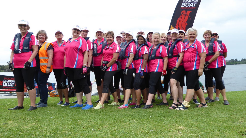 Our team from the beginning (check out those bright colours) and after the 2018 regional dragonboating competition
