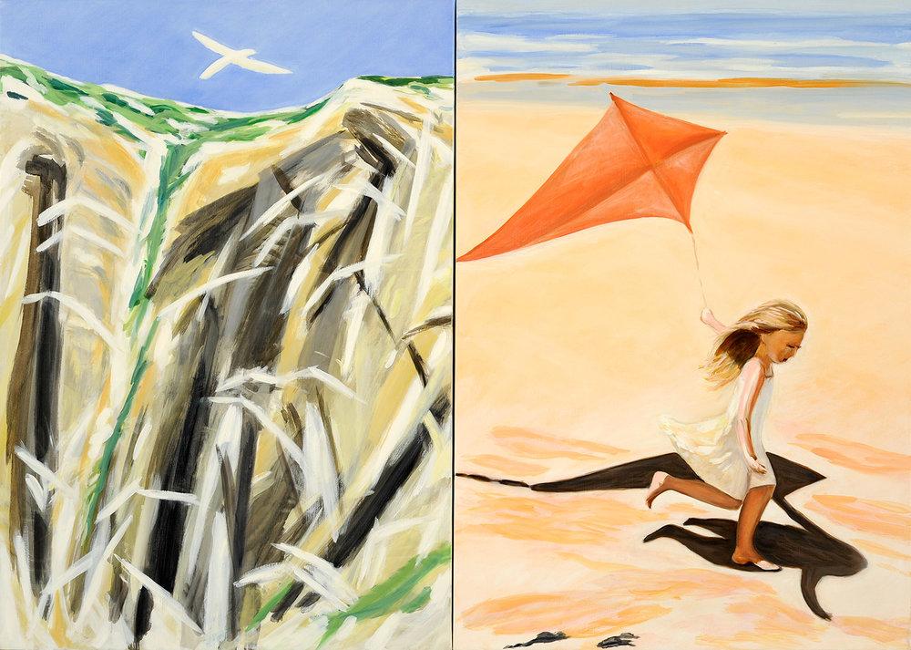Falaise et oiseaux avec cerf-volant et plage, 2011