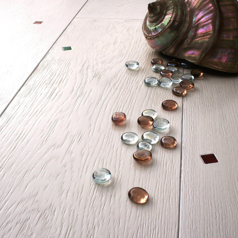 White distressed flooring