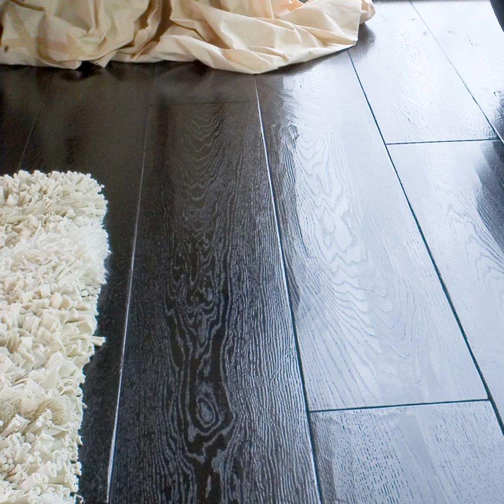 Worn wooden floor
