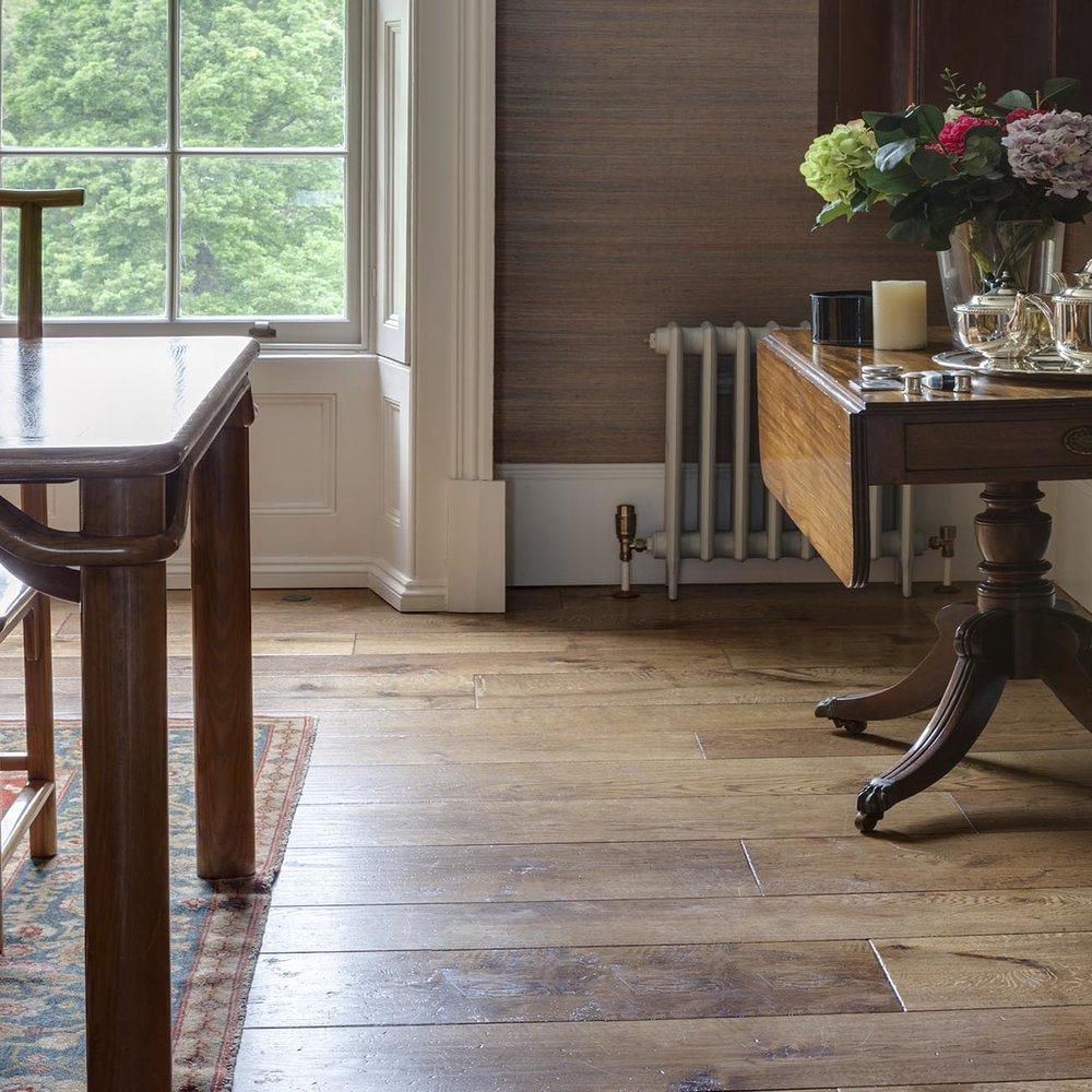 dinning room  Distressed parquet wooden flooring.jpg