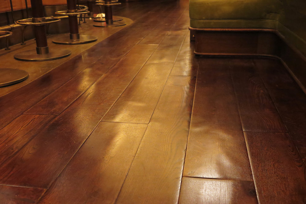 Handcrafted distressed wood flooring