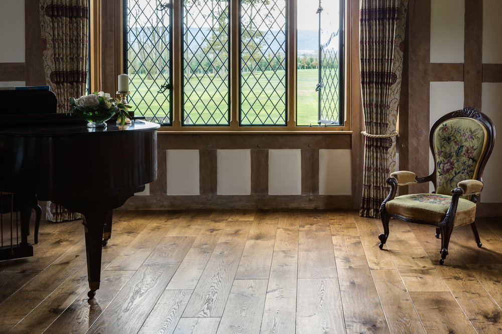 Textured wood flooring