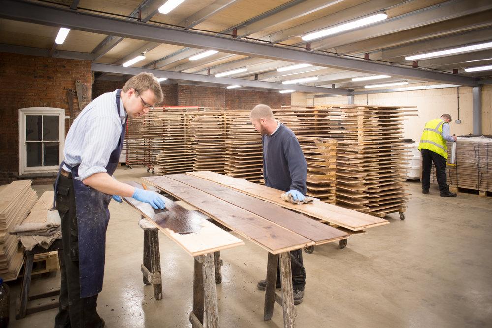 Handcrafted wide board oak flooring