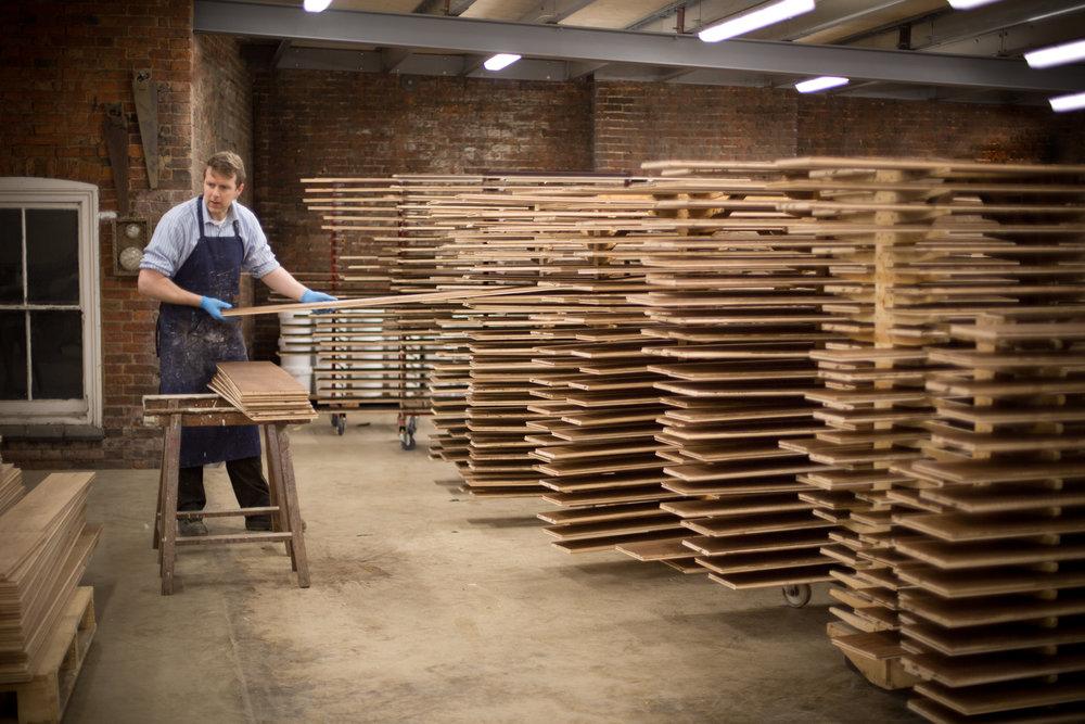 Handmade wide wooden flooring