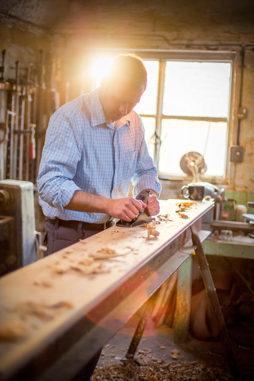 Handmade oak floor boards
