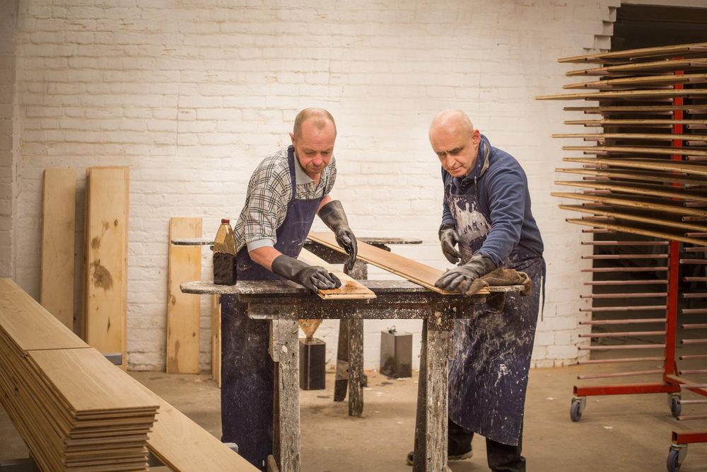 Handcrafted distressed wood floor