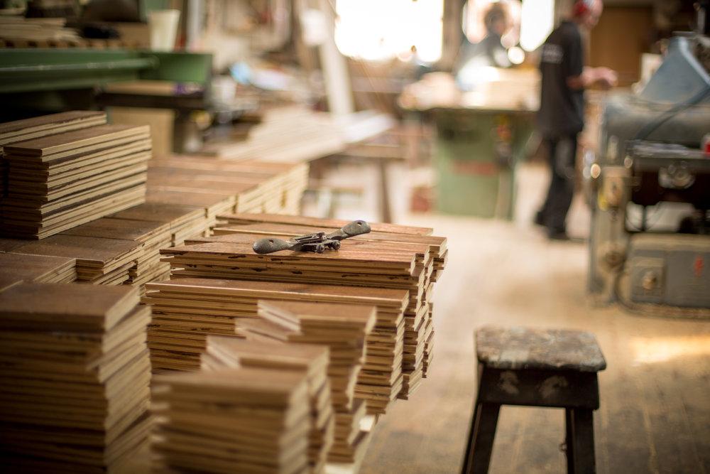 Handcrafted distressed engineered flooring