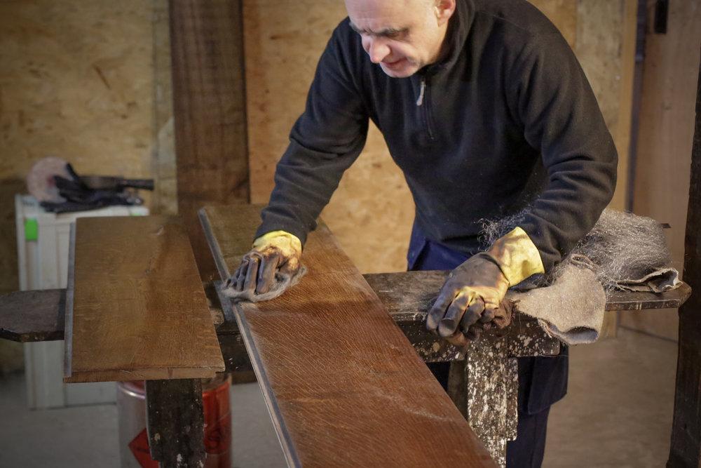 Handmade wide wood flooring