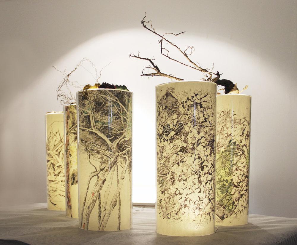 INSTAL.LACIO Ombres naturals 5xCILINDROS pequeños, 20diámetro x 50cm altura