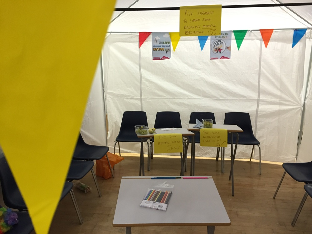 Mindfulness tent - the calm before the mindful storm of students that came flooding in.
