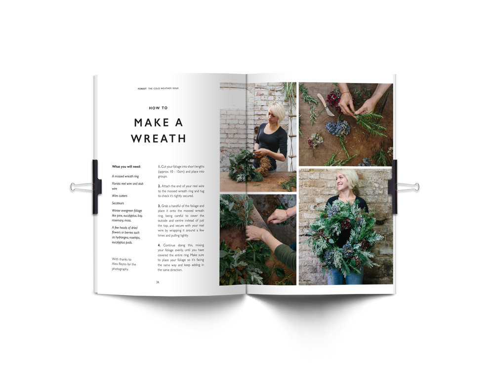 Forest Journal spread making a wreath