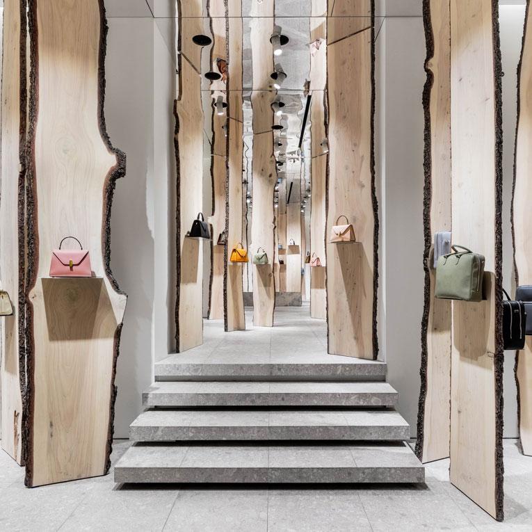 kengo kuma pop-up retail store concept for valextra milan design week