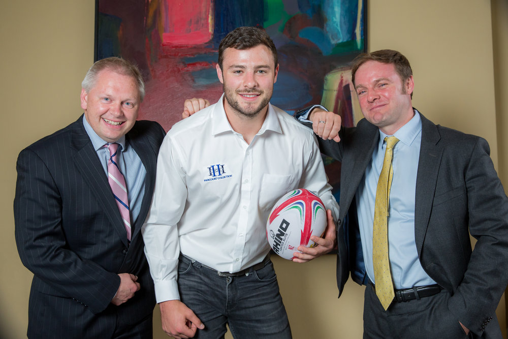 Robbie Henshaw with Pat Power and Nick Doherty of Harcourt Developments