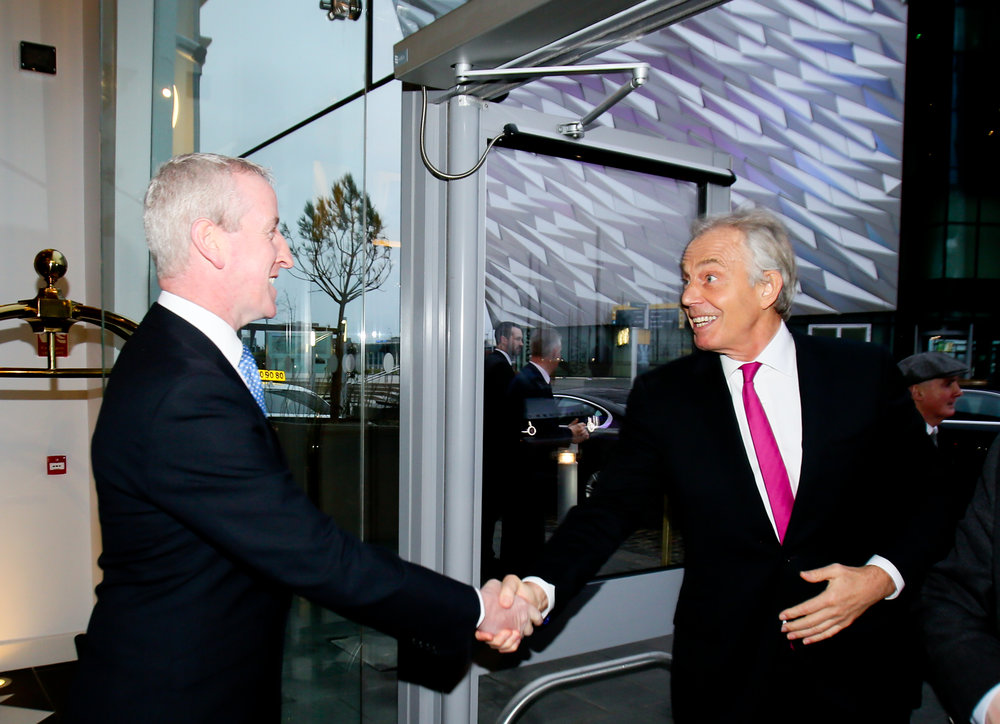 Harcourt head of hotels Clement Gaffney welcomes former Prime Minister Tony Blair to Titanic Hotel Belfast