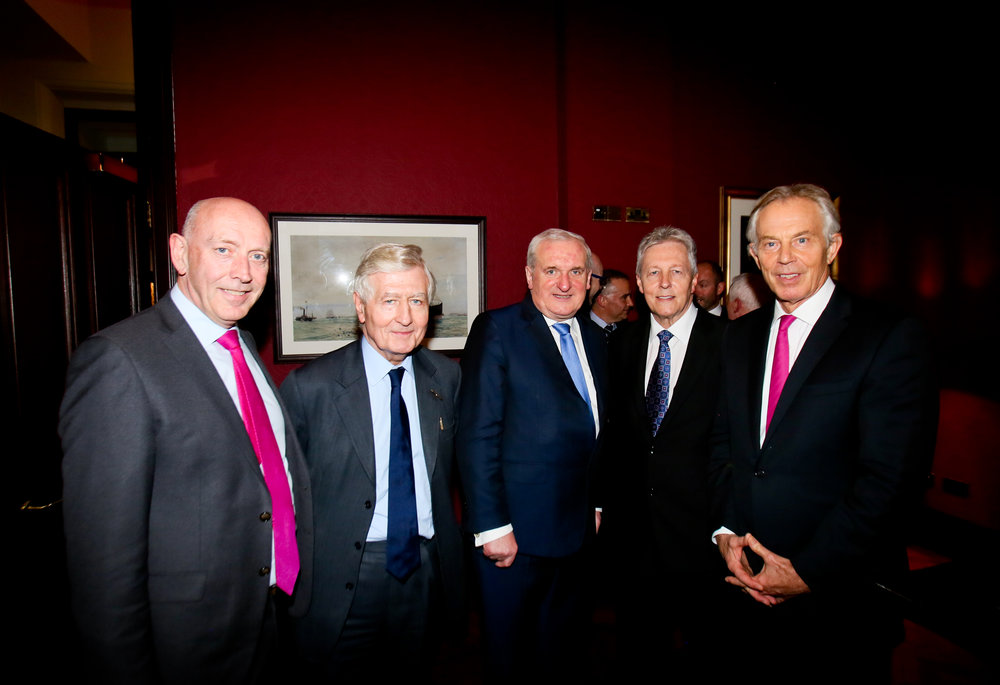 from left, Co-operation Ireland CEO Peter Sheridan, chairman Christopher Moran, Bertie Ahern, Peter Robinson and Tony Blair