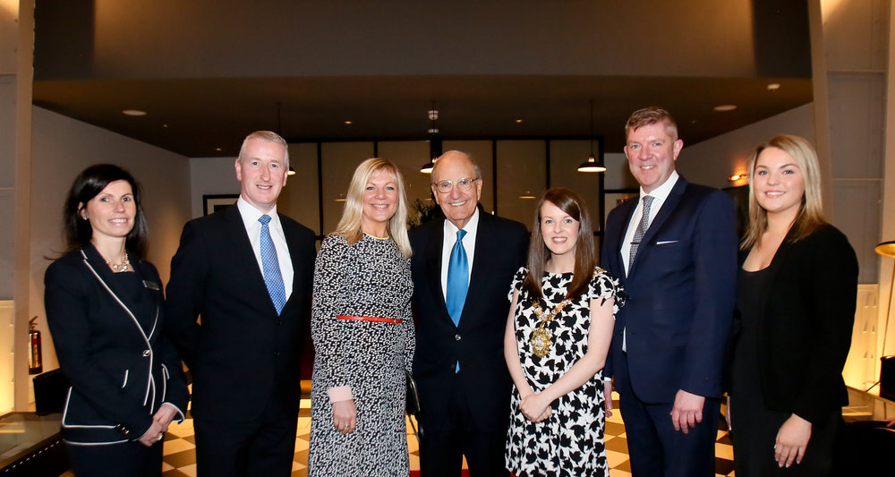 from left, Titanic Hotel Belfast sales manager Yvonne McIlree, Harcourt head of hotels Clement Gaffney, Belfast Council CEO Suzanne Wylie, Senator George Mitchell, the Lord Mayor of Belfast Nuala McAllister, GM Adrian McNally