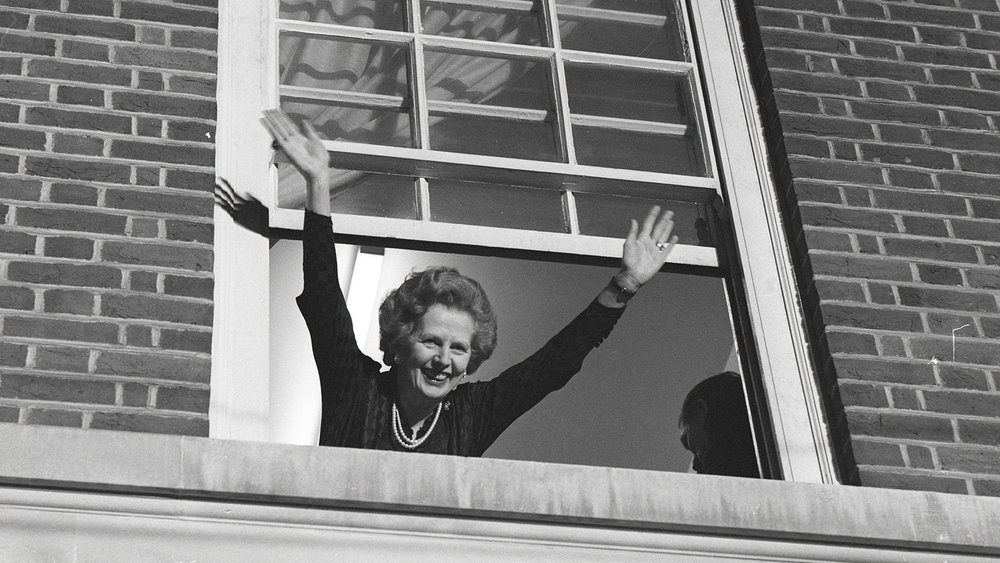 Margaret Thatcher celebrates election victory in 1983 at Smith Square