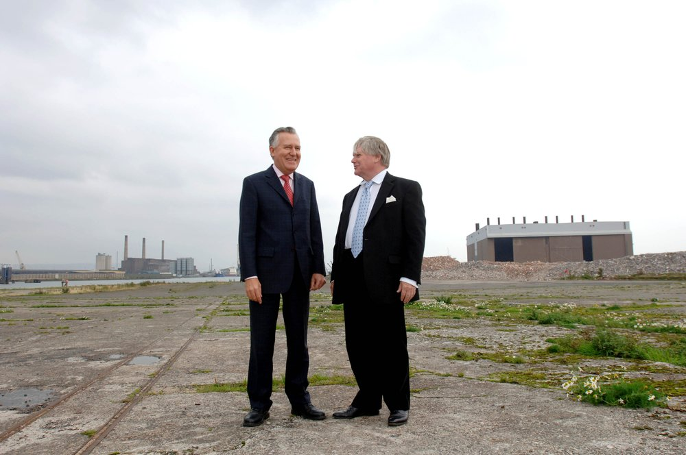 Peter Hain, the Northern Ireland Secretary, and developer Pat Doherty on the Titanic Quarter slipways