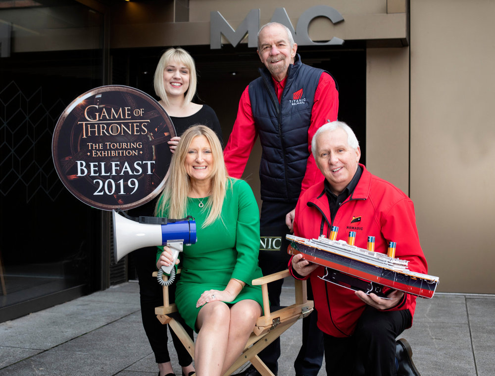 TBL International's chief executive Judith Owens (front) with staff Nicola Wharry, Tom Jackson and Paul Whitla, as it announces 150 new jobs