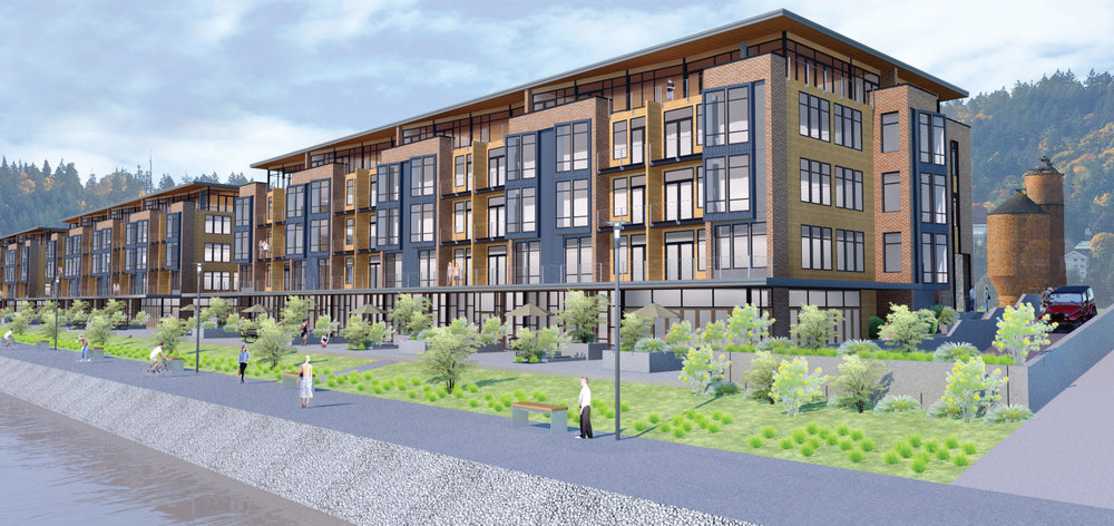 With views over Bellingham Bay, these modern waterfront condos offer pedestrian-friendly walkways.