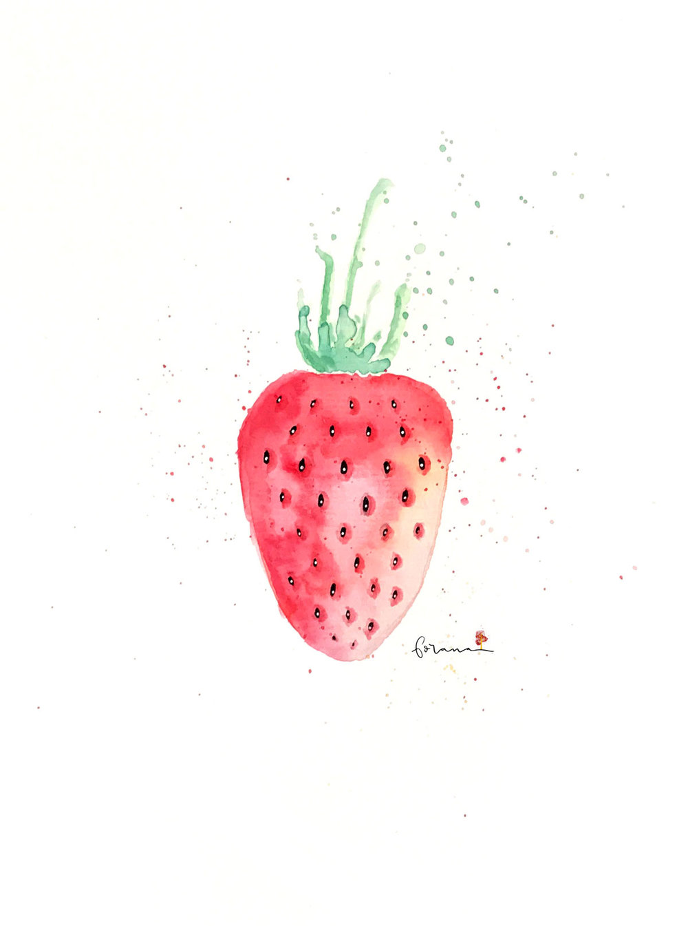 Oh, du süsses - Erdbeerchen---Minimal Watercolor Design