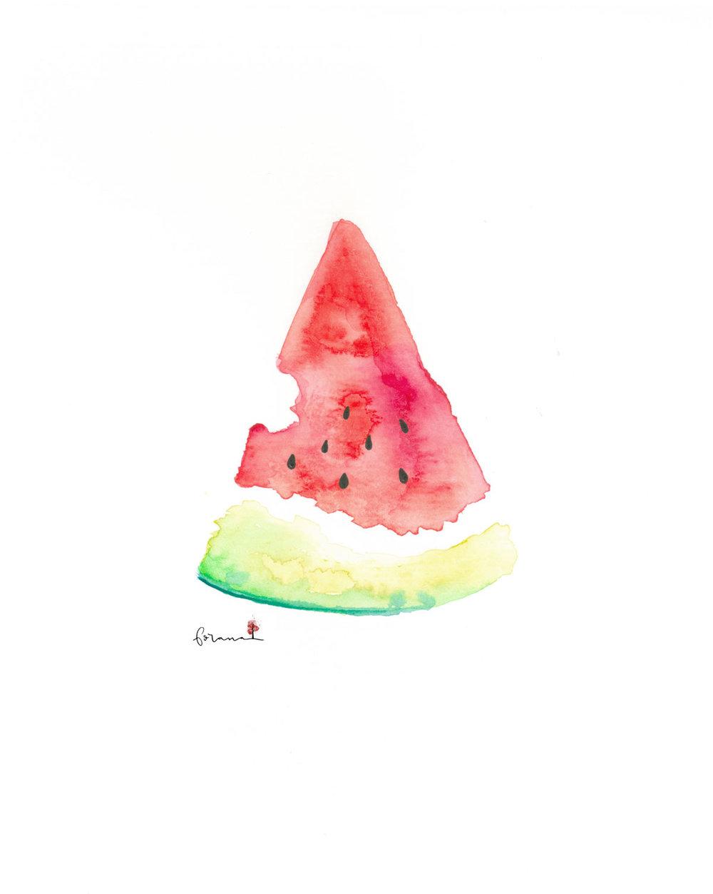Zum anbeissen saftige - Wassermelone---Minimal Watercolor Design